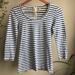 J crew striped  zip up long sleeve Tee